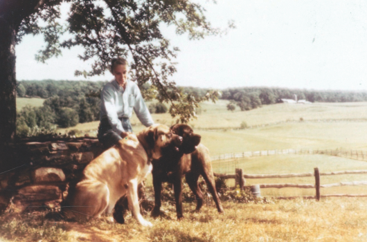 Marie Moore at High Hope Farm in 1958. The Mastiffs are brothers Rhinehart and Falcon of Blackroc. Photo courtesy of Joan Turner Moore