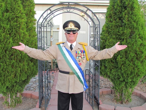 His Excellency President Kevin Baugh greets Molossia tourists.