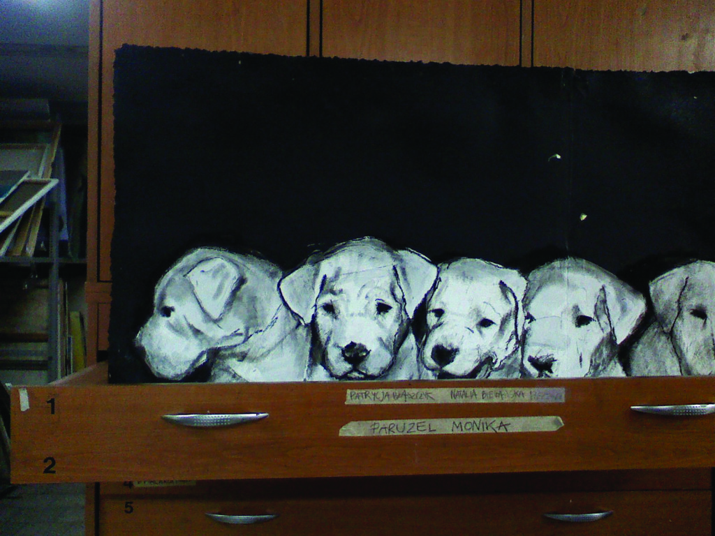 """Puppies in my drawer"" is how Paruzel labels this study of young Dogos."