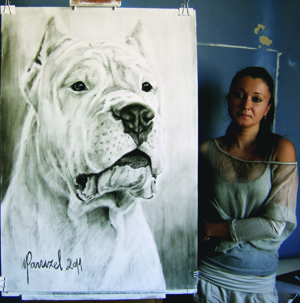 One of the artist's favorite drawings: Kalec Bravura del Ayar, the top Dogo Argentino in Brazil in 2011.