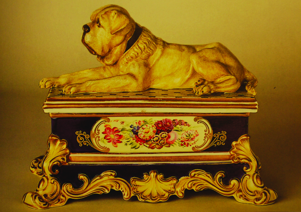 "Mastiff porcelain inkwell, circa 1840, marked ""Chamberlain-Worcester."" It is on display at the American Kennel Club library in New York City."