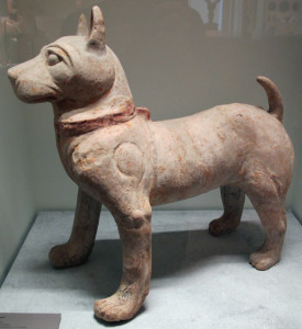 Ceramic dog from the late Han dynasty excavated near Chongqing.