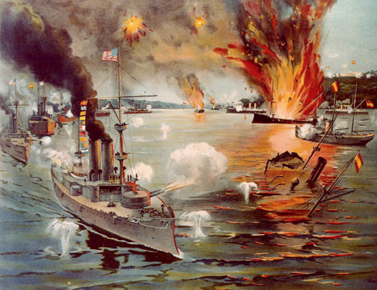 Artist's depiction of the Battle of Manila during the Spanish-American War.