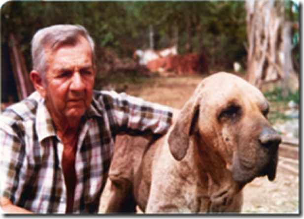 A snapshot from the CAFIB expedition to southern Minas Gerais in the late 1970s of breed pioneer and legendary breeder Zé Gomes de Oliveira. The head of his pure Fila Brasileiro, named Lord, has a very typical Fila headpiece.