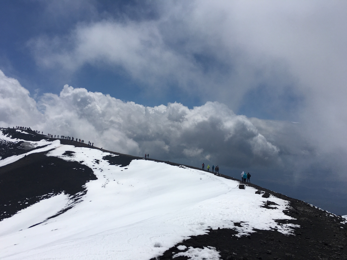 Strolling around Mount Etna in Sicily. That cold white stuff isn't lava!