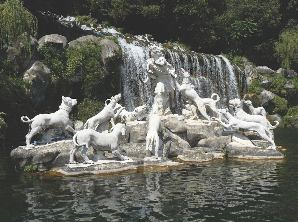 The famous over-life-size fountain of Diana and Actaeon at the Palace of Caserta, constructed for the Bourbon kings of Naples. The dog at far left has universally been identified as a Cane Corso.